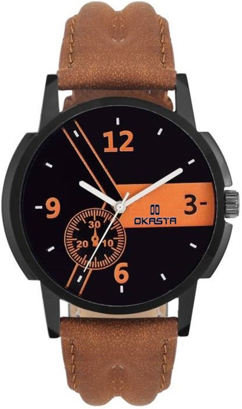OKASTA OK1038 High Quality Unique Sports Black Brown Dial Analog