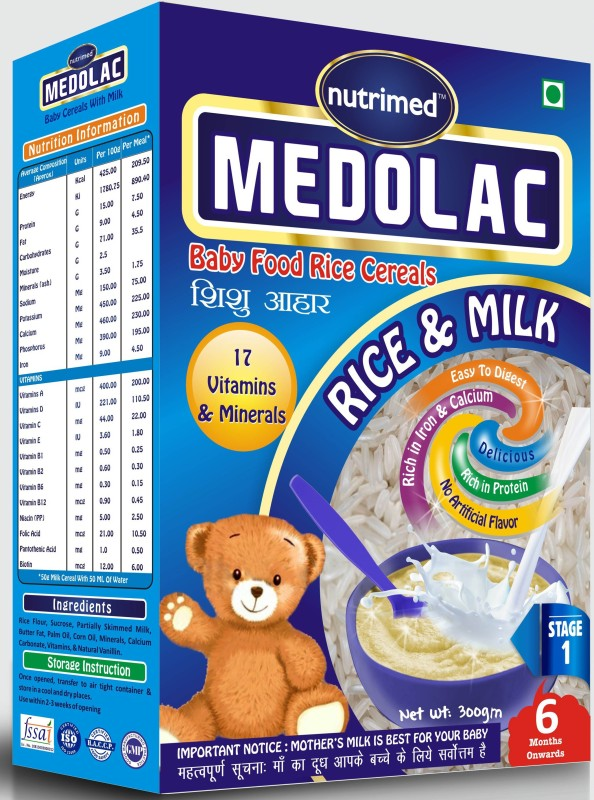 Nutrimed Medolac Baby Food (6 Months Onwards) Rice, Milk Cereal for Babies & Infants(300 g, Pack of 1)