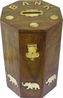 RGRANDSONS Handmade Handicrafted Wooden Money Bank Kids Piggy Coin Box Gifts Elephant Décor 6 Inch Octo Coin Bank(Brown) best price on Flipkart @ Rs. 299