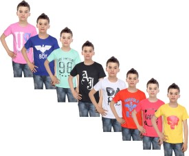 IndiStar Boys Printed Cotton T Shirt(Multicolor, Pack of 8)