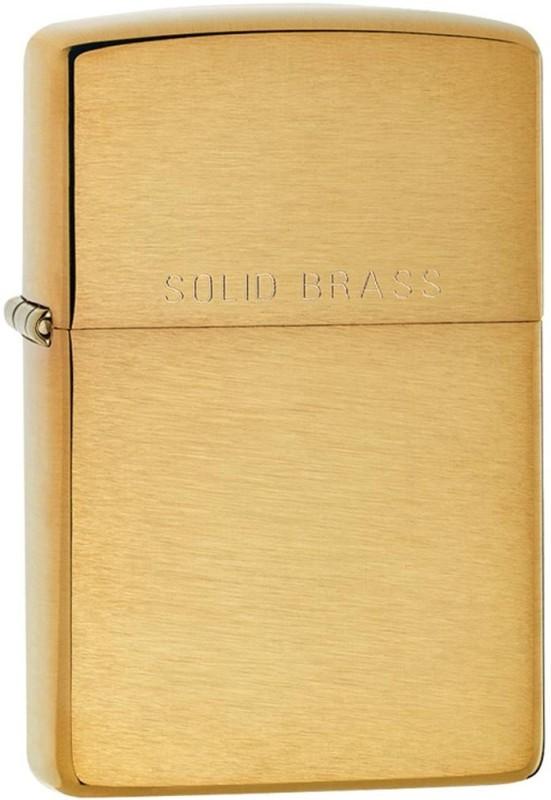 Zippo 204 Classic Plain Brushed Brass Pocket Lighter(Gold)