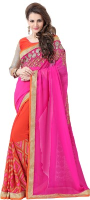 Elevate Women Embroidered Bollywood Georgette Saree(Pink) at flipkart