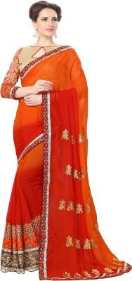 Amar Enterprise Embroidered Bollywood Georgette Saree(Maroon, Orange) at flipkart