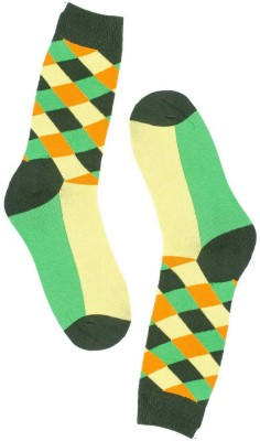 The Tie Hub Mens Geometric Print Mid-calf Length Socks