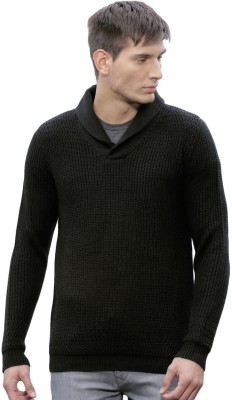ether Self Design Round Neck Casual Men Black Sweater at flipkart