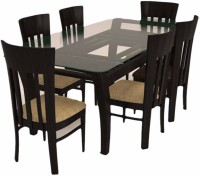 Caspian Furnitures Solid Wood 6 Seater Dining Set(Finish Color - Black)