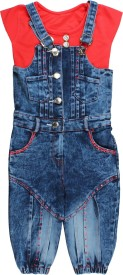 Arshia Fashions Girls Party(Festive) Top Dungaree(Multicolor)
