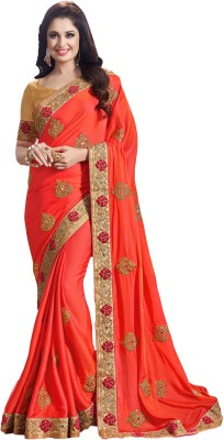 M.S.Retail Embroidered Kanjivaram Silk, Dupion Silk Saree(Orange) at flipkart