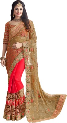 M.S.Retail Embroidered Bollywood Net Saree(Gold) at flipkart