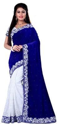 Googlee Self Design, Embroidered Bollywood Velvet, Net, Kota Cotton Saree(Blue, Silver) at flipkart