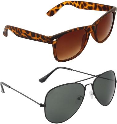 Zyaden COM587 Wayfarer Sunglasses(Brown, Black)