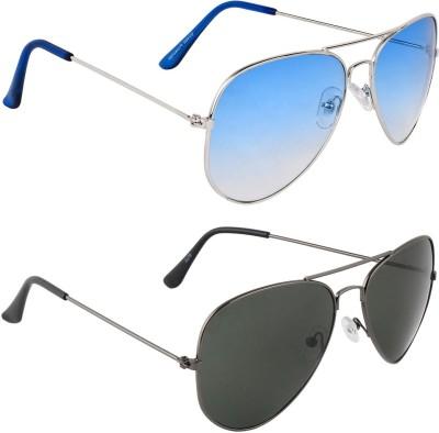 Zyaden COM589 Aviator Sunglasses(Blue, Black)
