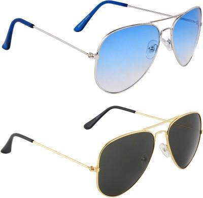 Zyaden COM591 Aviator Sunglasses(Blue, Black)