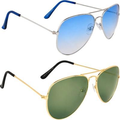 Zyaden COM590 Aviator Sunglasses(Blue, Green)