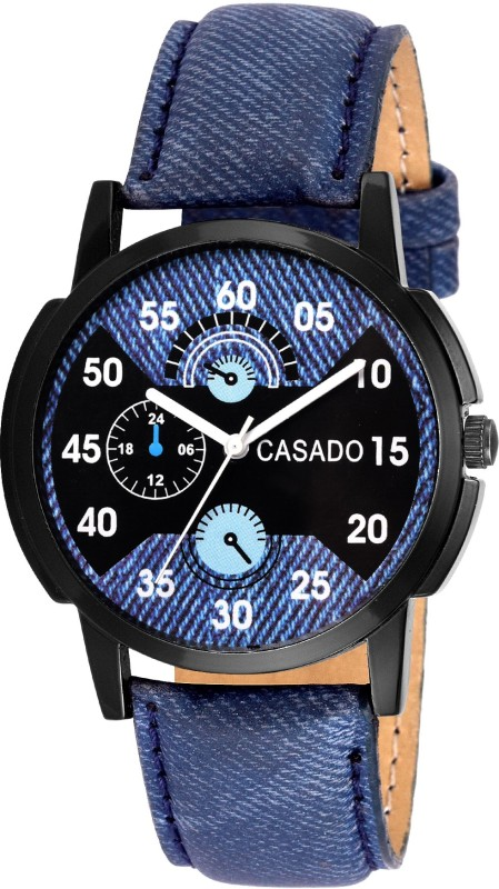Casado 171 Multi Colour Series Round Casual Analog Denim Blue Lea