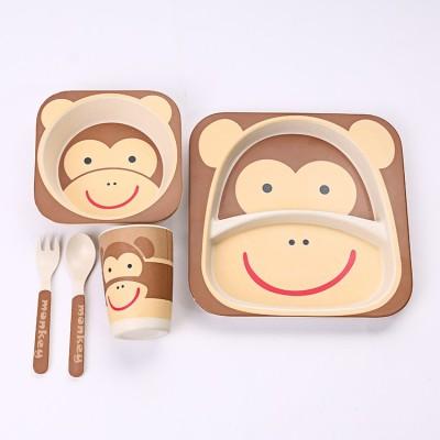 EZ Life EZ Life Kids Dining Set - Eco Friendly Bamboo - 5 Pieces - Monkey Pack of 5 Dinner Set(Bamboo)