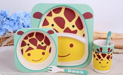 EZ Life EZ Life Kids Dining Set - Eco Friendly Bamboo - 5 Pieces - Giraffe Pack of 5 Dinner Set(Bamboo)