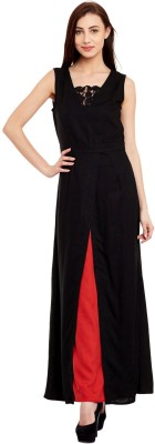 The Vanca Women's Fit and Flare Black Dress at flipkart