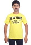 Ardeur Printed Men's Round Neck Yellow T...