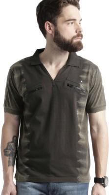 Roadster Self Design Mens Polo Neck Black T-Shirt