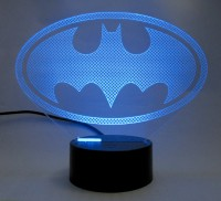 varna crafts Lampees 3D Illusion Batman Logo Led Night Lamp(16 cm, Black)