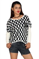 Fashion Stylus Women's Clothing - Fashion Stylus Casual Full Sleeve Checkered Women's Black, White Top
