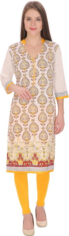 Tanvi Block Print Women's Straight Kurta(White)