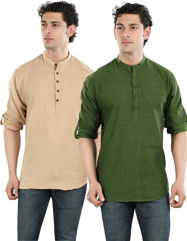 Salwar Studio Printed Men's Straight Kurta(Beige, Green)