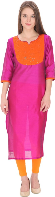 Tanvi Embroidered Women's Straight Kurta(Pink)