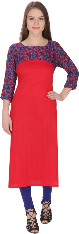 Tanvi Floral Print Women's Straight Kurta(Red)