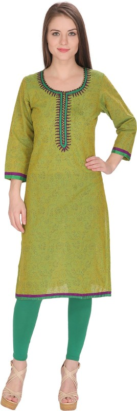 Tanvi Embroidered Women's Straight Kurta(Light Green)