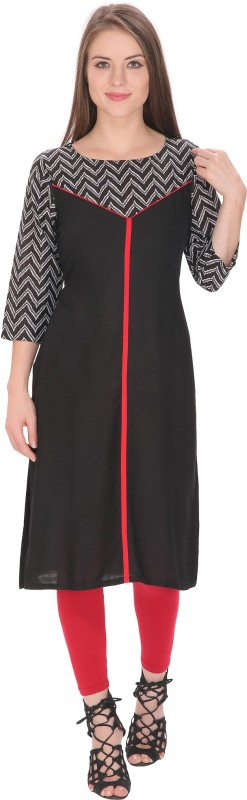 Tanvi Self Design Women's Straight Kurta(Black)