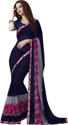 Shaily Retails Printed Fashion Georgette Saree(Blue) at flipkart