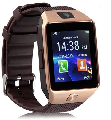 OSR Traders DZ-09 Smartwatch(Gold, Brown Strap Regular) at flipkart