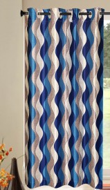 Kings Polycotton Multicolor Striped Eyelet Door Curtain(213 cm in Height, Single Curtain)