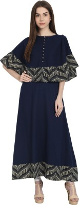 Nayo Printed Women's A-line Kurta(Dark Blue, Grey) at flipkart