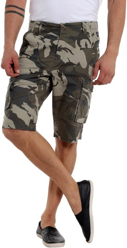 Fast n Fashion Self Design Men's Green Cargo Shorts