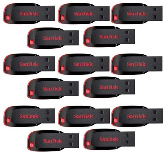 SanDisk Cruzer Blade Pack of 15 32 GB Pen Drive(Red, Black)