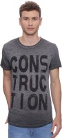 T Shirts (Men's) - Indicode Printed Men's Round Neck Grey T-Shirt