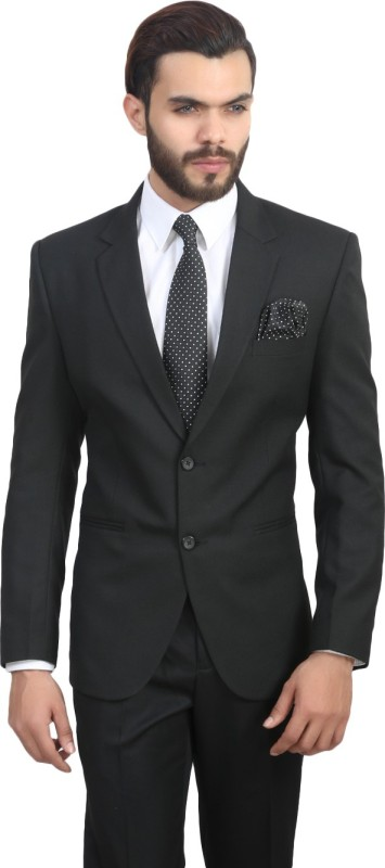 ManQ Solid Single Breasted Formal, Party Men's Blazer(Black)