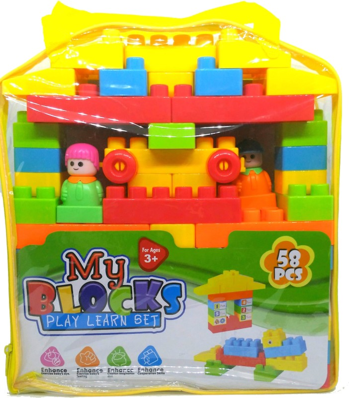 HALO NATION Blocks Play and Learn set 58 pcs(Multicolor)