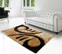 Superb Furnishings Multicolor, Brown Polyester Viscose Blend Carpet(91 cm  X 150 cm)