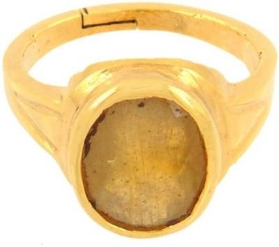 Gruvi 6.25 Pukharaj Rashi Ratan With Lab Test Stone Sapphire Platinum Plated Ring at flipkart