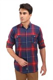 Fisher Men's Checkered Casual Maroon, Bl...