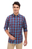 Fisher Men's Checkered Casual Blue Shirt