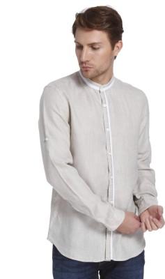 Jack & Jones Mens Solid Casual Linen Beige Shirt
