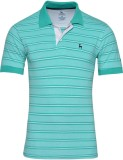 IND Classic Striped Men's Polo Neck Gree...