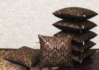 Zikrak Exim Abstract Cushions Cover(Pack of 7, 40 cm*40 cm, Brown, Gold)
