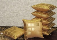 Zikrak Exim Self Design Cushions Cover(Pack of 7, 40 cm*40 cm, Beige, Gold)