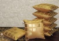 Zikrak Exim Self Design Cushions Cover(Pack of 7, 40 cm*40 cm, Beige, Gold)